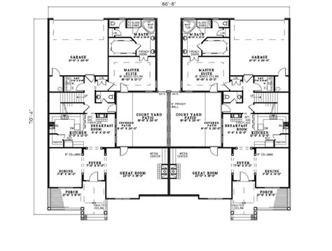 Dual Master Bedrooms by Country Creek Duplex Home Plan 055d 0865 House Plans And