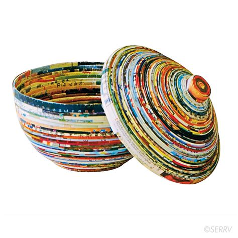 Paper Handcrafts - accents recycled paper lidded bowl