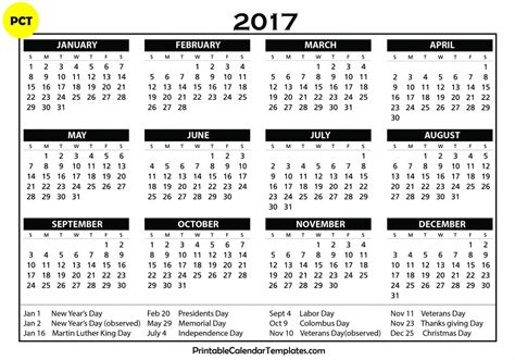 Printable Yearly Calendar 2017 With Holidays » Calendar