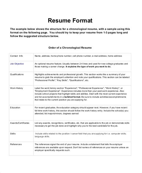 Chronological Resume Format by 26 Best Resume Formats Doc Pdf Psd Free Premium