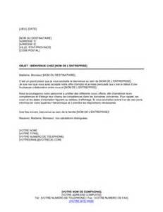 Exemple Lettre De Bienvenue Modele Lettre Bienvenue Document