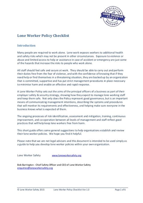 Lone Worker Safety Lone Worker Policy Checklist 1 0 Lone Working Policy Template