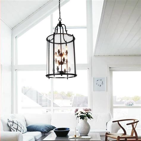 glass oversized lantern chandeliers with black metal frame for living room ideas
