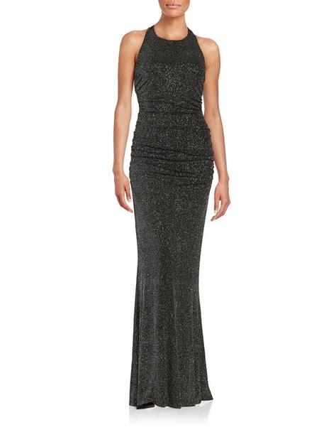 Kleiner Side By Side Kühlschrank by Calvin Klein Ruched Shimmer Gown In Black Lyst