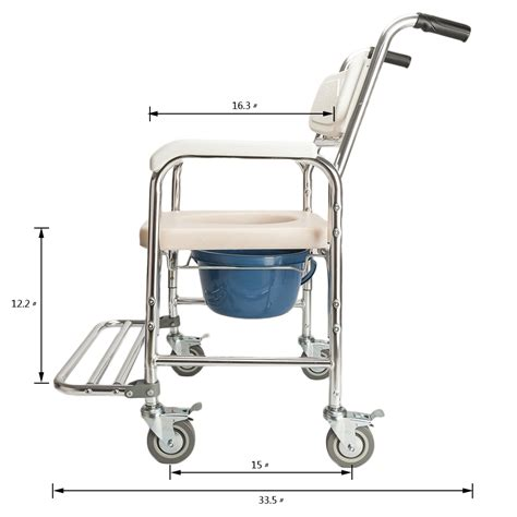 aluminum mobile shower commode chair bedside bathroom - Used Commode Chair