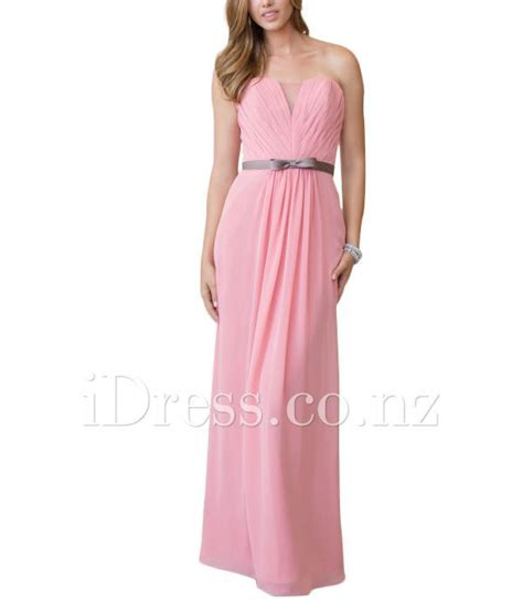 pink strapless chiffon a line floor length bridesmaid