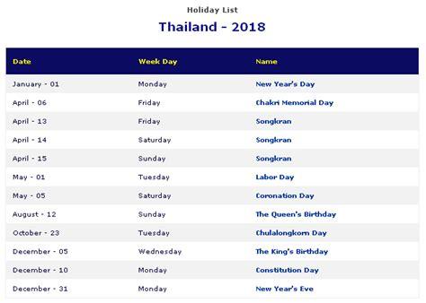 printable calendar 2018 thailand thailand holidays 2018 thailand public holidays 2018