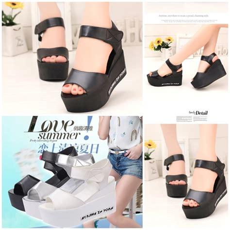 Sepatu Sport Cantik Rd 8 jual shw621 black sepatu wedges cantik import 8cm