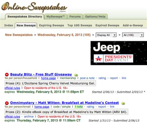 Online Sweepstakes 2013 - online sweepstakes giveaways sweepstakes contests
