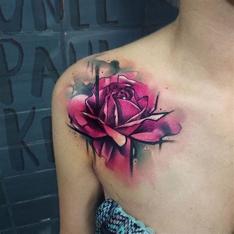 watercolor rose tattoo shoulder creativefan