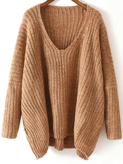 how to knit v neck sweater v neck chunky knit khaki dolman sweater shein sheinside