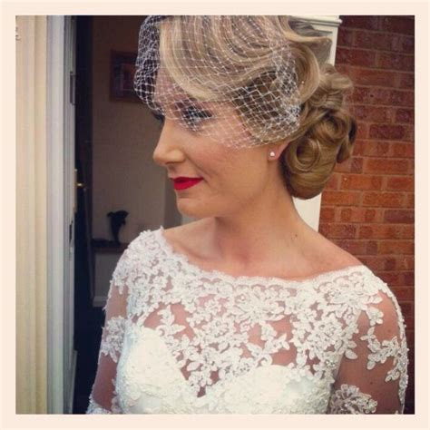 Vintage Wedding Updos With Veil by Vintage Wedding Hair And Vintage Makeup With Birdcage Veil
