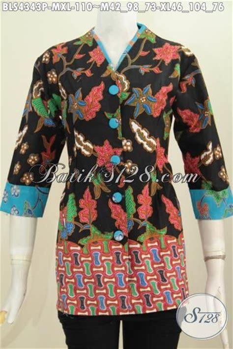 Blus Katun Motif Polos Ac469 pakaian blus model motif kombinasi dengan model plisir