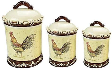 rooster blue set of 3 ceramic storage canisters set of 3 round apothecary rooster ceramic canister quality