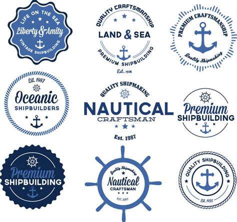 nautical pattern vector free nautical vector badges blue set free download