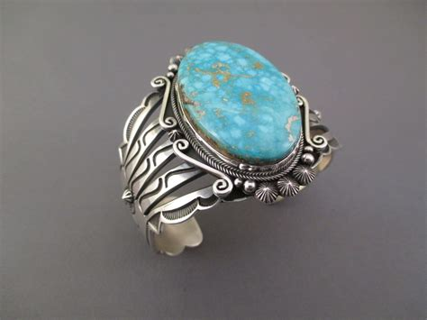BR1102 Sterling Silver & Royston Turquoise Bracelet by Navajo artist Aaron Toadlena $1095