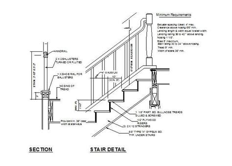 handrail section stair and handrail cad detail cadblocksfree cad blocks free