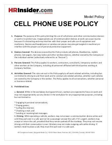 mobile phone policy template employee cell phone use policy hashdoc home decor catalogs