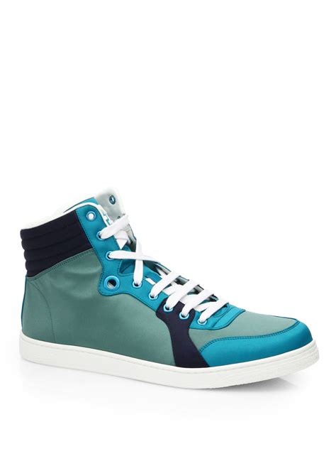 green gucci sneakers gucci coda satin hightop sneakers in green for lyst