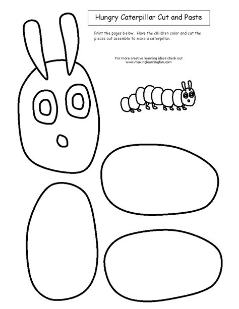 The Hungry Caterpillar Template cut and paste hungry caterpillar