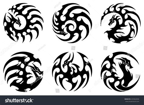 round tribal tattoo designs vector illustration set tribal stock vektor