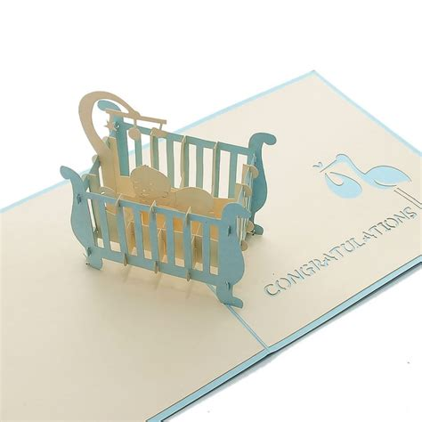 Pop Up Crib Card Template by Baby In Cot Pop Up Card New Baby Pop Card 3d Laser Cut