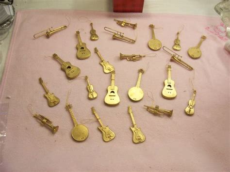 musical instrument ornament set musical instruments ornaments lot of 23 gold tone