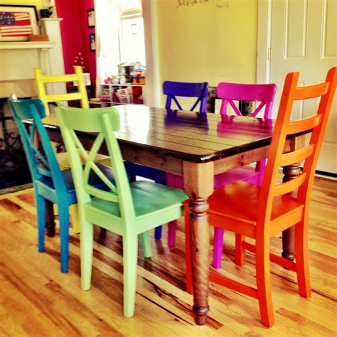 Colored Dining Table Rustoleum Spray Painted Chairs These Remind Me Of All The Colored Benches At The State Fair
