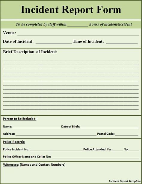 incident report template incident report template word excel pdf