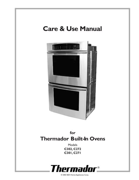 thermador built in ovens care use manual