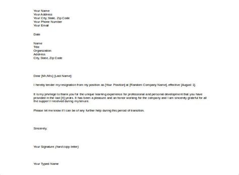 resignation letter templates 26 free word excel pdf