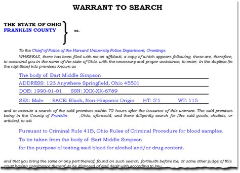 Ohio Search Search Warrant Template 100 Images Arrest Forms Fill