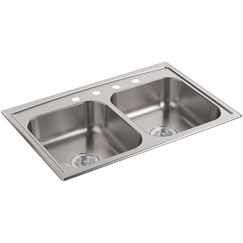kohler drop in sinks kohler toccata drop in stainless steel 33 in 4 hole
