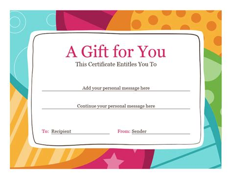 gift certificate template word 2007 certificates office