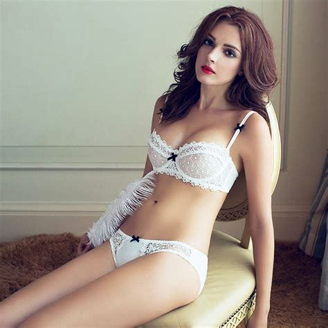 Jual Bra Set Transparan floral hollow transparent bra set unlined bow embroidery 1 2 v