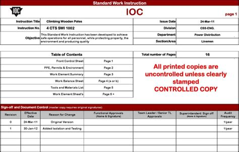 standard work excel template sle work templates free