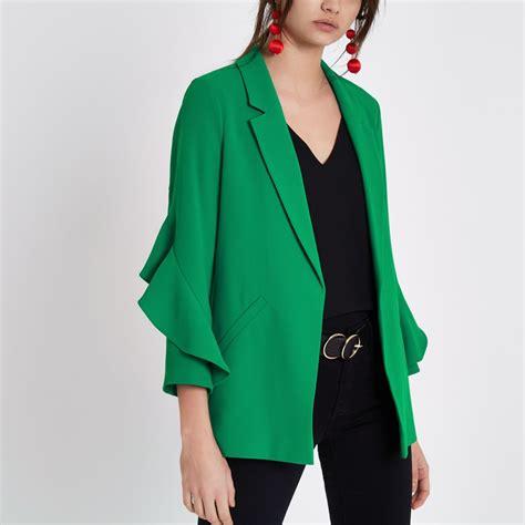 Sleeve Blazer green frill sleeve blazer blazers coats jackets