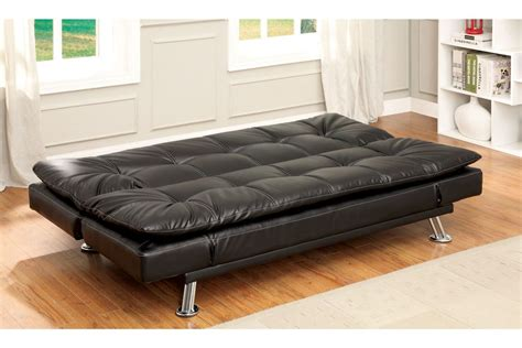 White Futon With Arms Bosco Plush Biscuit Tufted Leatherette Futon With Adjustable Arms In Black
