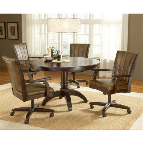 dining room chairs on wheels hillsdale grand bay cherry round dining set with caster