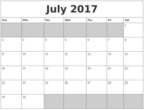 printable calendar july august 2017 july 2017 calendar printable template uk usa canada