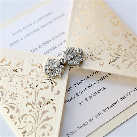 ivory gatefold laser cut wedding invitation vintage wedding stationery scotland modern
