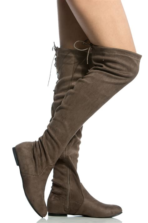 taupe faux suede thigh high boots cicihot heel shoes