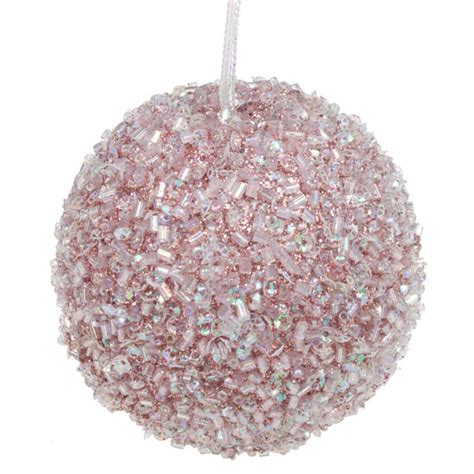pale pink beaded bauble 65mm baubletimeuk