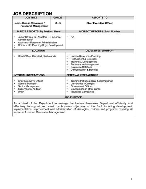 Job Description Exle Hr Council Description Template