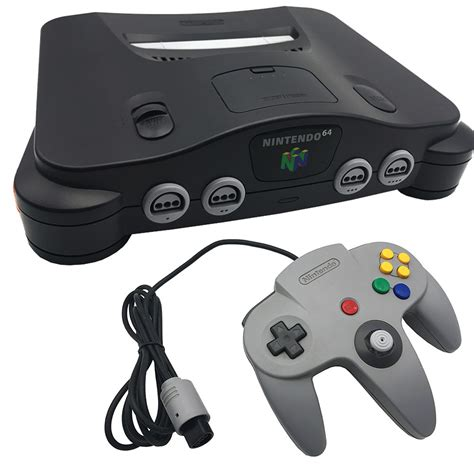 n64 console nintendo 64 charcoal black console pre owned the gamesmen