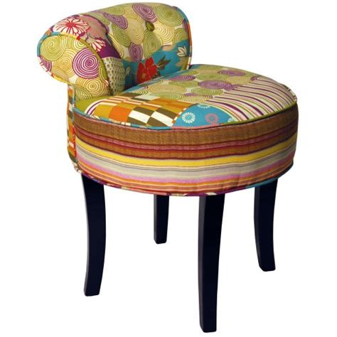 Patchwork Chairs - patchwork shabby chic chair stool wood legs multi