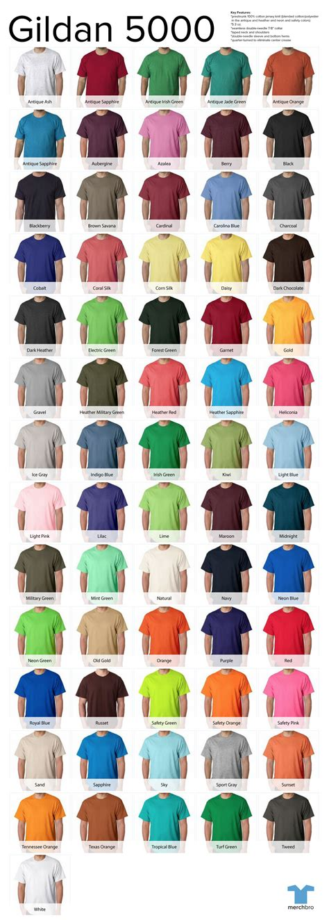 gildan colors gildan shirts colors chart