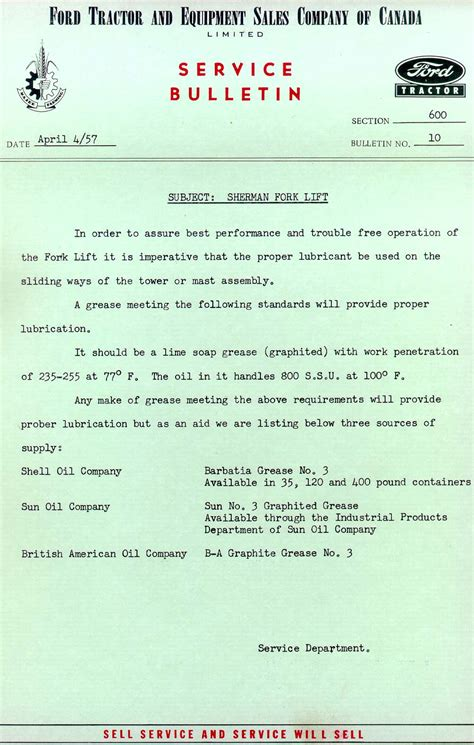 1957 tech service bulletin lubricants