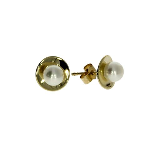 9ct yellow gold perla collection grey freshwater pearl