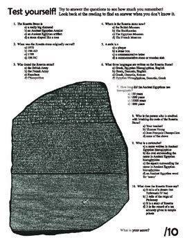 rosetta stone quiz answers ancient egypt rosetta stone reading and questions